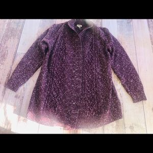 LL Bean purple drape front sweater size S